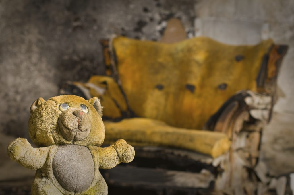 Burned teddy bear